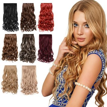 "20"" Curly 3/4 Full Head Synthetic Hair Extensions Clip On/in Hairpieces 5 Clips"