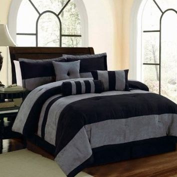 7 Piece Black Gray Micro Suede Cal (California) King Comforter Set with accent pillows