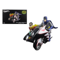1966 Batcycle Elite Edition and Side Car with Batman and Robin Figures 1/12 Diecast Model by Hotwheels