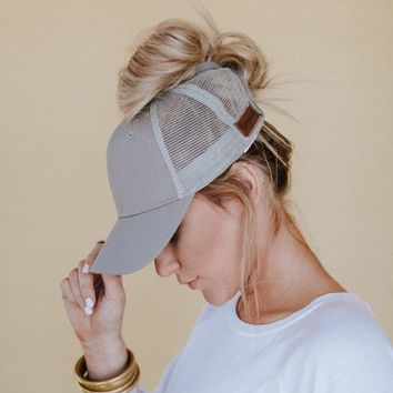 Messy Bun Baseball Hat - Gray