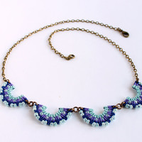 Collar macramè wave beaded neckalce boho blue violet
