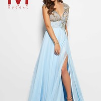 Mac Duggal 10083M Ice Blue Hand Beaded Lace Chiffon Gown