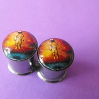 Brand New deja entendu album picture plugs gauges embedded resin filled - Made to Order 4, 2, 0, 00