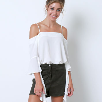 Opening Bell Cold-Shoulder Blouse - White