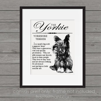 Yorkie / Yorkshire Terrier Storybook Style Canvas Print: Dog, Wall Art, Rustic, Vintage, Antique, Decor, Artwork, DIY, Breed, Gift