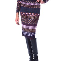 Fashionably Cozy Knit Pencil Skirt - Purple