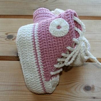 organic cotton crochet baby girl converse style shoes boots booties pink ec