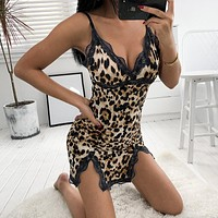 Temptation Leopard Lace Stitching Sleeveless Strap Deep V-Neck Split Mini Nightwear Dress