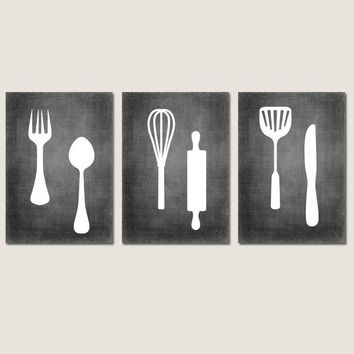 KITCHEN Wall Art, CANVAS or Prints Chalkboard Pictures, Fork Spoon Knife Utensils, Dining Decor, Wall Hanging Set of 3 Home Choose Colors