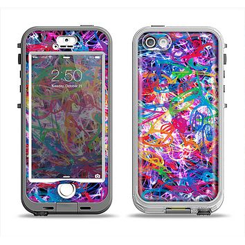 The Neon Overlapping Squiggles Apple iPhone 5-5s LifeProof Nuud Case Skin Set