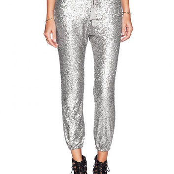 Silver Sequined Drawstring Waist Joggers