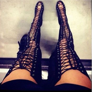 sexy-black-high-heels-gladiator-shoes-woman-peep-toe-lace-up-thigh-high-boots-summer-o number 1