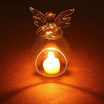 New Romantic Angel Crystal Glass Candle Holder Hanging Tea Light Lantern Candlestick Burner Vase DIY Wedding Party Decoration