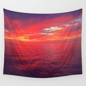 Ocean tapestry, red tapestry, large wall art, tapestry wall hanging, sunset, wall hanging, colorful tapestry, outdoor tapestry, red, orange