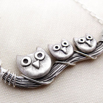 Owl family necklace sterling silver Mother's by lulubugjewelry