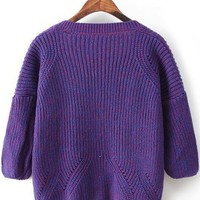 Purple Plain Rivet Cardigan