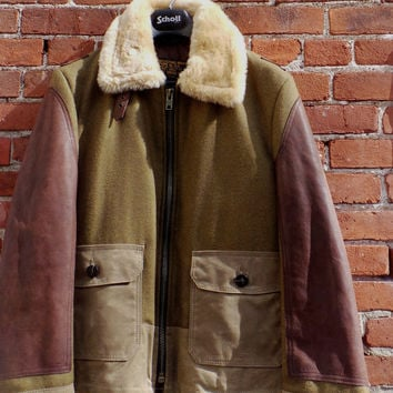 SCHOTT NYC 797S JACKET MADE IN USA SHEARLING MIX