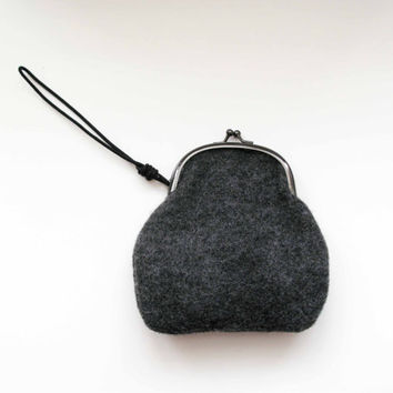 Dark Grey Wrist Clutch by AllBeta on Etsy