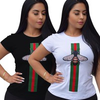GUCCI New fashion women red and green stripe bee casual T-shirt top two color