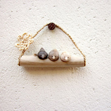 Reserved for Sarah -  Miniature birds on a twig, native wall art