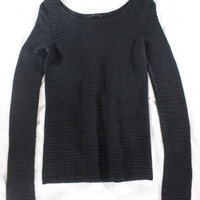 "~~~ WAY UP THERE ~~~ THE ROW BLACK ""POINTELLE OPEN KNIT"" LONG SLEEVE SWEATER ~ S"