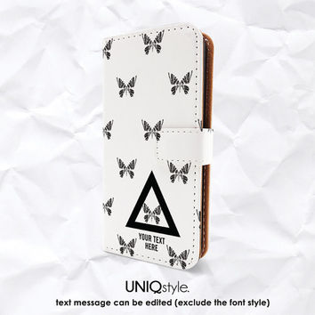 Butterfly personalized monogram name texts PU leather case for iPhone 4/4s 5/5s 5c MotoX - wallet flip case with standing function - A62