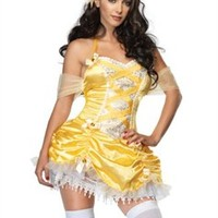 Sexy Halloween Costumes | Leg Avenue Costumes 83542 - Storybook Beauty Costume Set: Features Halter Dress with Brocade Detail, Ruched Skirt, and Satin Bows with Jewel Accent