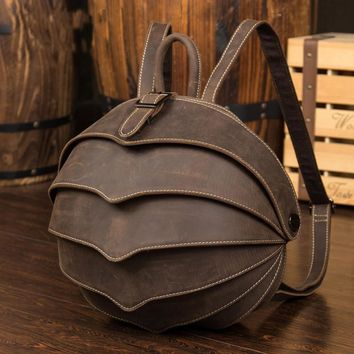 High Quality Genuine Leather Backpack Fashion Men Women Crazy Horse Leather School Bag Personality Vintage Handmade Daypacks