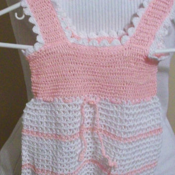 Baby Dress Pink and White with Cotton Thread and Headband