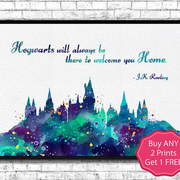 Hogwarts Castle 8 Quote Harry Potter Watercolor Art Print Archival Fine Art Print Home Decor Children's Wall Art Wall Hanging Birthday Gift