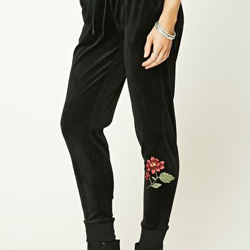 Velvet Floral Sweatpants