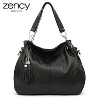 Top Quality Soft Real Genuine cow Leather Office Lady Woman Handbag tote bag 2 Tassel, free shipping