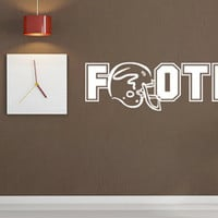 Football with Helmet Vinyl Wall Decal