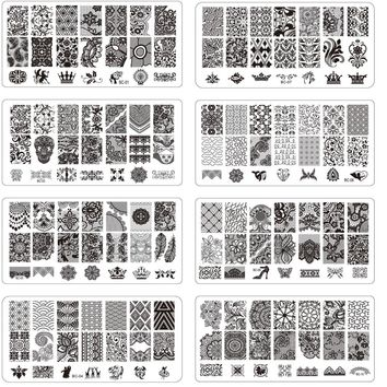 10pcs NEW 12x6cm Nail Art Template Sexy Lace Flower Stamping Plates Nail Art Polish Stamp Stencils Manicure Nail Tools LABC01-10