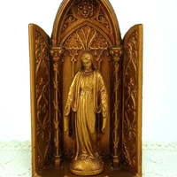 Vintage Blessed Virgin Mary Statue with Matching Niche Table Top or Hang