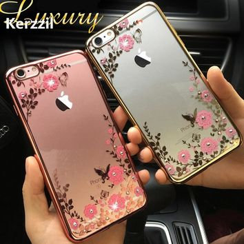 For iphone 7 7Plus Clear Lace Flower Diamond Mirror Metal Flash Frame+Soft Silicon Gel Case For iPhone SE 5 5s 6 6S Cover Back