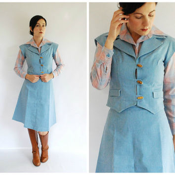 1970's Denim Set - 70's Denim Skirt Vest Top - 3 pc. set -Size Small