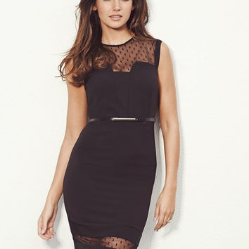Black Sleeveless Bodycon Midi Dress with Mesh Dot Accent