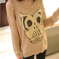 Girls NEW ARRIVAL FASHION Lovely Paillette Owl Off-Shoulder Sweater YWF-0112-KK
