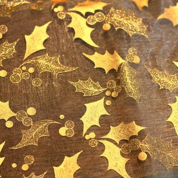 "1.7 yds Sheer Gold Christmas Fabric with Holly Leaves | Gossamer Fabric Accented with Glitter | 62"" x 37"" 