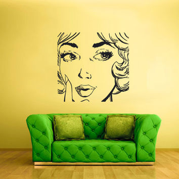 rvz1750 Wall Decal Vinyl Sticker Decals Girl Face Poster Lips Hairs Kiss