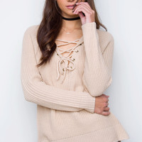 Steffi Lace Up Sweater - Taupe