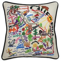 California Hand Embroidered Pillow