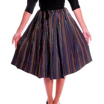 Vintage Skirt Black w/ Bright Primary Stripes 1940's XS