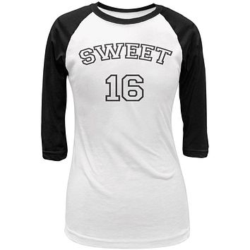Milestone Birthday Athletic Sweet Sixteen 16 Juniors 3/4 Sleeve Raglan T Shirt