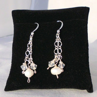 "Sterling Silver Plated Double Chain Dangle Earrings, Freshwater Pearl, Clear Bincone, ""Grace"""