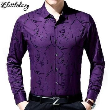 2017 male fashion brand casual business slim fit men shirt camisa long sleeve floral social shirts dress clothing jersey 8637