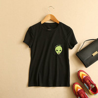 "Women's ""We Out Here"" RIPNDIP Alien Printed Black Short Sleeve Casual Pocket T Shirt"