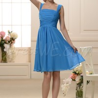 Royal Blue Knee-Length Square Neckline A-Line Bridesmaid Dress 10645048 - Bridesmaid Dresses 2014 - Dresswe.Com