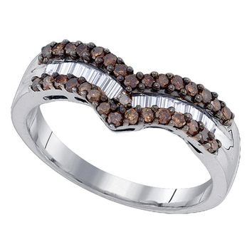 Sterling Silver Womens Round Cognac-brown Color Enhanced Diamond Chevron Band Ring 1/2 Cttw